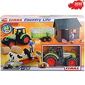 Dickie Farmspielset mit Freilauf Traktor, Anhänger Figuren und Zubehör, 23-tlg. || Spielzeug Traktor mit Anhänger Bauernhof Spiel Set Spieltrecker Trecker