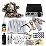 Complete Tattoo Kit 1 Skull Tattoo Machine Gun Power Supply Needles Grips Tips 18N