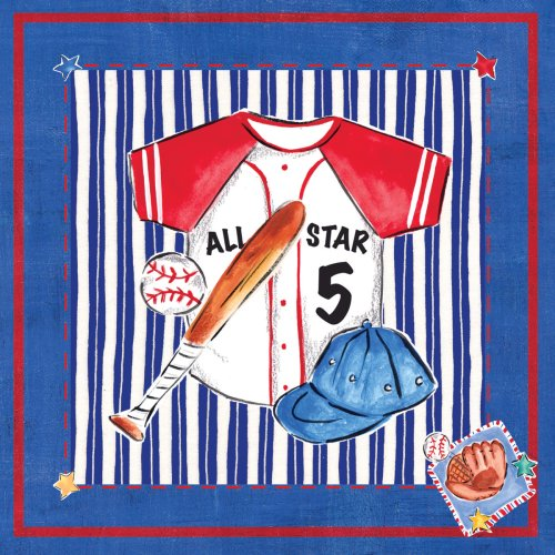 "Art 4 Kids ""Blue Jean Baseball"" Mounted Art Print, 18""x18"""