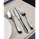 Winco Elite 3 Dozen Flatware Set, 18-0 Stainless Steel Classic Old-Fashioned Dinner Spoons (Dozen Pack), Dinner Forks (Dozen Pack) and Dinner Knives (Dozen Pack), 36-Piece Set (Color: Silver)