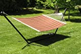 Deluxe Extra Large Two Person Brown Quilted Hammock Set with 15 Foot Long Stand