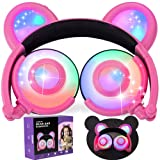GBD Panda Ear Kids Headphones Wired for Boys Girls Toddlers Foldable Over On Ear Game Headsets Earphones 85dB Volume Limit for Tablet Pad Phone School Travel Birthday Gifts (Pink) (Color: 03 Pink Wired)
