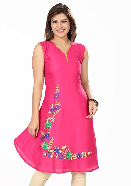 ISHIN Poly Cotton Pink kurti available at Amazon for Rs.1499