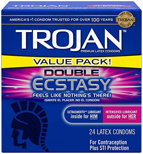 Trojan Double Ecstasy Lubricated Condoms, 24 Count
