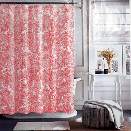 Wonderful Tommy Hilfiger Fabric Shower Curtain Dark Pink Rose Paisley Pattern On  White    Canyon Paisley