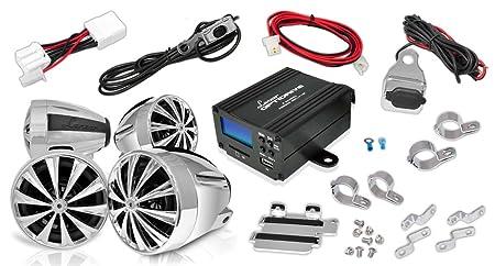 Lanzar OPTIMC92 Paire de 4 enceintes avec Amplificateur pour Moto/Scooter/Vélo/Motoneige 1400 W 4 voies Entrées 3,5 mm/SD/USB/Radio FM Argent