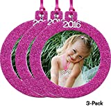 2016 Magnetic Glitter Christmas Photo Frame Ornaments, Round 3-pack - Hot Pink