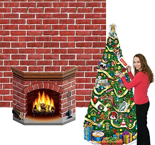 Beistle Instant Christmas Wall Decorations - Christmas Tree, Fireplace, and Brick Backdrop