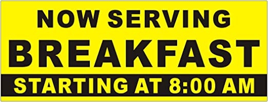 Breakfast Sign Breakfast Banner Sign With