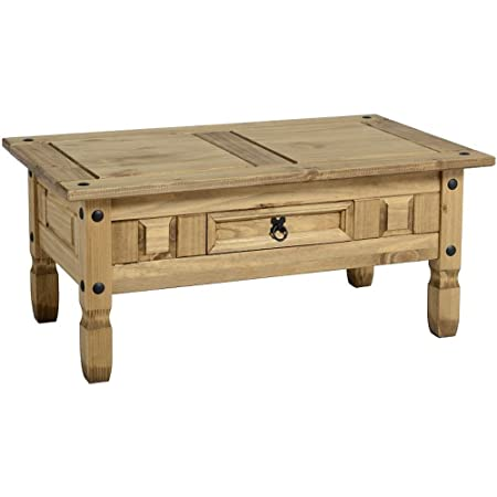 Madera de Corona cajones 1 mesa de café de madera de pino macizo acabado encerado para muebles