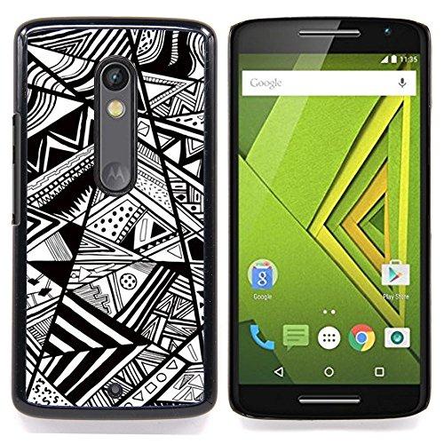 For Motorola Verizon DROID MAXX 2 / Moto X Play - white chevron lines abstract pen /Custodia protettiva in plastica duro di disegno Slim Fit copertura/ - Super Marley Shop -