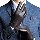 Harrms Best Touchscreen Nappa Genuine Leather Gloves for men's Texting Driving Cashmere Lining (L-8.9