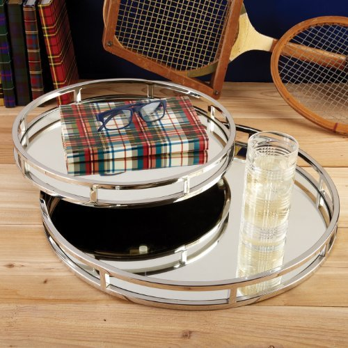 Two's Company Set Of 2 Round Mirrored Trays By Two's Company