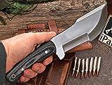 CFK Cutlery Company USA IPAK WARTHOG Custom Handmade D2 Tool Steel Camo Micarta LARGE Tracker Hunting Skinning Bushcraft Knife with Horizontal Leather Sheath & Fire Starter Rod Set CFK59