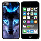 img - for For Apple iPod Touch 6 6th Generation - Wolf Blue Eyes Neon Bright Light Forest Case Cover Protection Design Ultra Slim Snap on Hard Plastic - God Garden - book / textbook / text book