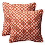 Pillow Perfect Outdoor Hockley Orange Throw Pillow, 18.5-Inch, Set of 2