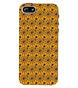 Printvisa Premium Back Cover Yellow And Black Spider Web Pattern Design For Apple iPhone 5::Apple iPhone 5S