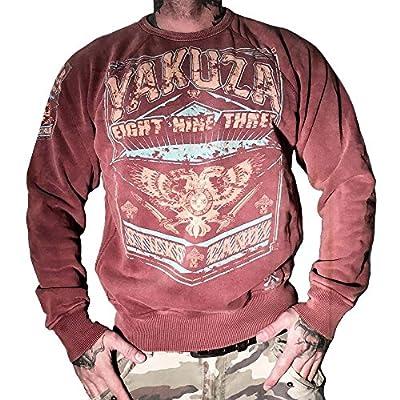 Yakuza Herren Pullover Sweatshirt PB 625 mit Front-Print Sticks & Candy in mahogany moon
