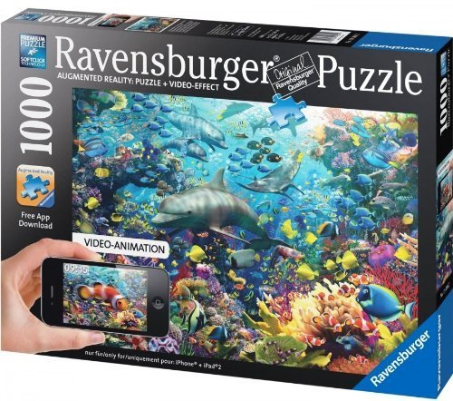 Ravensburger Augmented Reality Puzzle + Video Effect COLORFUL UNDERWATER KINGDOM 1000 Piece Premium Softclick Technology Puzzle