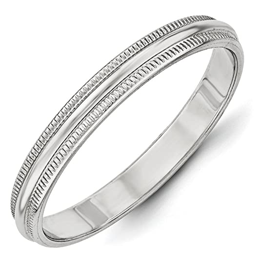 10k White Gold 3mm Milgrain Half Round Band Ring - Ring Size Options Range: H to Z
