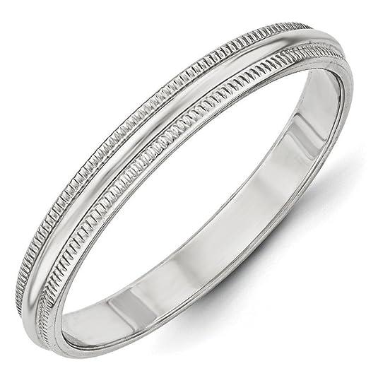 10k White Gold 3mm Milgrain Half Round Band Ring - Ring Size Options Range: H to Z