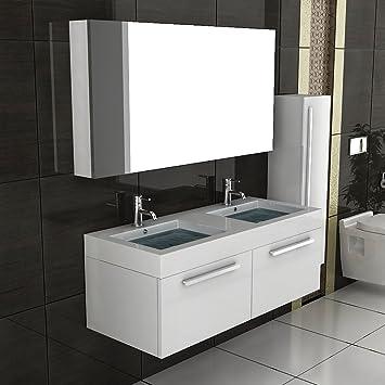 Lavabo doppio set di mobili da bagno con armadietto con specchio armadietto bianco lucido con funzione soft close lavabo per bagno-Set completo di programmi mobiletto