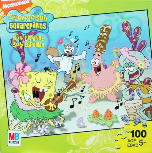 Picture of Hasbro Nickelodeon Spongebob Squarepants 100-Piece Jigsaw Puzzle - Hula Dancing (B003UNG0DK) (Jigsaw Puzzles)