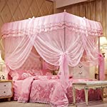 Mosquito Net Bed Canopy-Lace Luxury 4 Corner Square Princess Fly Screen, Indoor Outdoor(Pink, Twin) — By Uozzi Bedding