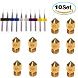 Kee Pang 10pcs MK8 Extruder Nozzle (0.2mm 0.3 mm 0.4mm 0.5mm) Extruder Brass Nozzle Print Head +10 pcs Drill Bits Extruder Nozzle Cleaner For Universal MK8 3D Printer (10pcs Nozzle and Cleaner)