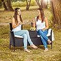 TecTake Sitzbank mit Tisch Poly Rattan Gartenbank Gartensofa inkl. Sitzkissen schwarz von TecTake bei Gartenmöbel von Du und Dein Garten