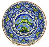 European Blue and Green Decorative Round Plate, Large