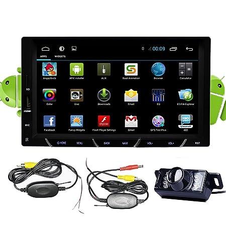 Caméra sans fil + Android 4.2Double DIN 17,8cm HD écran Multi-Touch capacitif none-dvd Lecteur stéréo de voiture Dash Support Navigation GPS Navi compatible 3G/Wi-Fi/Bluetooth/DVR/1080p/Air/Play/SD/USB/Radio A