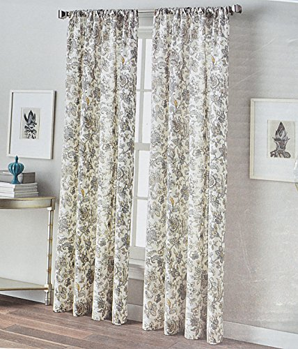 peri home window curtains jacobean exotic garden flowers 50by96inch set of 2 cotton window