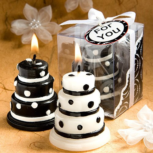 Luscious black and white wedding cake candle favors (Set of 48)