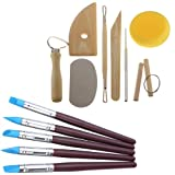 Gimiton 5PCS Clay Color Shapers Clay Sculpting Tools Rubber Tip Paint Brushes + 8PCS Clay Pottery Tool Kit Ceramics Wax Carving Sculpting Molding Tools (13pcs/brush+carving kit) (Tamaño: 13pcs/brush+carving kit)