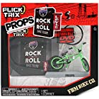 Spinmaster Flick Trix Fingerbike Real Bikes, Unreal Tricks BMX Bicycle Miniature Set - Green Color FBM BIKE CO. with Display Base and DVD Props Rock N Roll BMX Tour by Levis