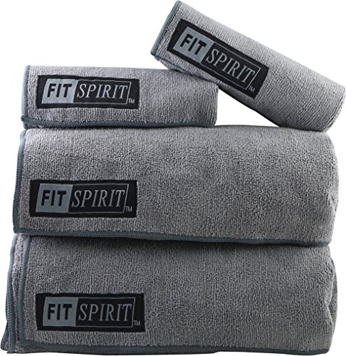 Yogaaddict Yoga Mat Towel And Hand Towel Combo Set: Fit Spirit® Set Of 2 Super Absorbent Microfiber Non Slip