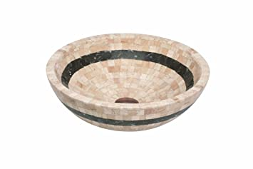 Lenova SV-43 Stone Vessel Bathroom Sink, Travertine