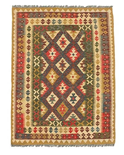 Hand Woven Sivas Wool Kilim, Camel/Red, 4' 11 x 6' 7