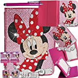 Minnie BLING Kindle Fire 7 Universal Crystal & Rhinestone Rotating Faux Leather Case with Built In Stand & FREE Jersey Bling® Stylus (Universal Kindle Fire 7, Pink - Minnie)