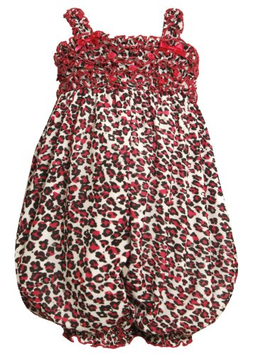 Size-0/3M, Fuchsia, Bnj-8840R, Ruffled Leopard Print Romper,Bonnie Jean Baby-Newborn Party Dress Outfit back-1021448