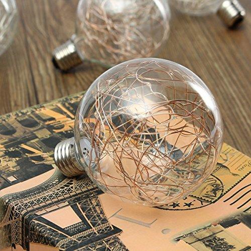 KINGSO G95 Vintage Edison Bulb,E27 Base 3W 300LM Antique Filament Globe Spiral Design LED Lights for Christmas Home Party Cafes Bars Decoration Warm White 5