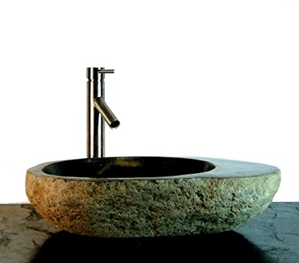 Natural Stone Oval Basin Vessel Sink w/ Tray Bathroom Kitchen Bar Fixture R10S