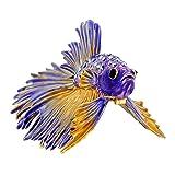 Purple Crowntail Betta Fish Trinket Box With Swarovski Crystal