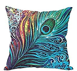 Usstore Feather Dragonfly Pillowslip Cushion Cover Pillow Case Home Decor (F)