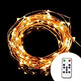 Led String Lights - Dimmable Copper Wire 33ft LED Starry Light with UL certified 5v Power Adapter For Christmas Wedding and Party suitable for indoors or outdoors Updated Remote Controller