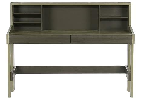 Bureau en pin massif brossé finition forrest-charcoal - Dim : H 108 x L 130 x P 60 cm -PEGANE-