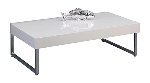 HomeTrends4You 125350 Couchtisch, 120 x 35 x 65 cm, weiß Hochglanz