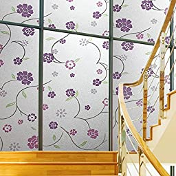 Coavas Non-Adhesive Frosted Green Leaves With Big Flower Glass Film For Meeting Rome/ Mall Glass Wall /Glass Door/kitchen/Bath room/Sitting Room/Bedroom/Privacy Window,Avoid Glass Burst,(17.7-Inch by 78.7-Inch)