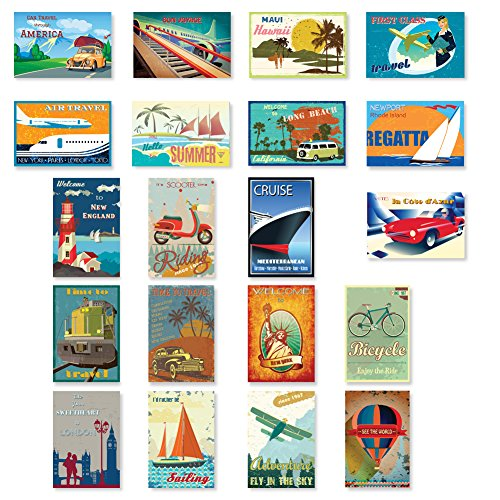 VINTAGE TRAVEL POSTERS postcard set of 20. Post card variety pack of retro style poster postcards. Made in USA. (World Postcards compare prices)